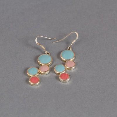 Boucles d'oreilles Pastel de bleu et de roses