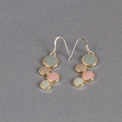 Boucles d'oreilles nuances de verts, rose et taupe