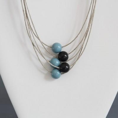 Collier 5 fils en lin bleu et gris anthracite
