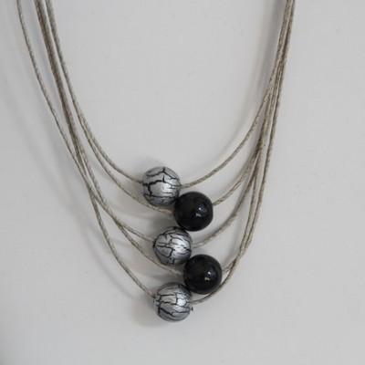 collier en lin gris anthracite et gris craquelé